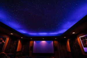 California home theater with Night Sky Murals painting