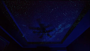 Home Theater ceiling painted with Night Sky Murals DIY stencil kit