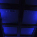 Night Sky Murals Stenciled ceiling with black lights